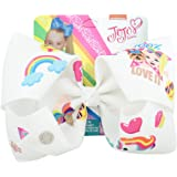 JOJO Siwa 8 Inch Unicorn Rainbow Printed Boutique Hair Bow For Girls Baby Kids Party School Wear - Best Children Gift for Bir