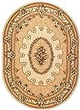 Tappeto Salotto Ovale Tradizionale Collezione Noble – Colore Crema Beige Motivo Bordatura – Migliore Qualità – Diverse Misure S-XXXL 140 x 190 cm