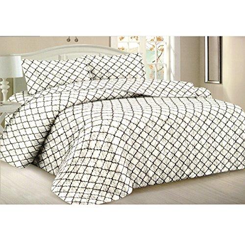 Todd Bettwäsche Queen Tagesdecke Quilt 3-teilig weich Gesteppte Betten–Luxuriöse bequem Mikrofaser Decke + 2kissenrollen (weiß Geometrische) (Grand Bettbezug Hotel)