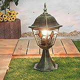 Rustikale Sockellampe Außen Gold Antik Glas Alu H:42cm E27 Wegbeleuchtung Garten Haus Balkon Terrasse