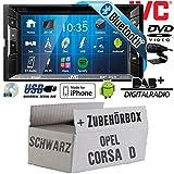 Opel Corsa D schwarz - Autoradio Radio JVC KW-V235DBTE - DVD | Bluetooth | DAB+ | CD | MP3 | USB | Android | iPhone | 2-Din - Einbauzubehör - Einbauset