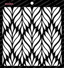"""Mudra Stencils - Leafy Pattern- 6""""x6"""" for DIY Home Decors, Crafts & Mixed Media"""