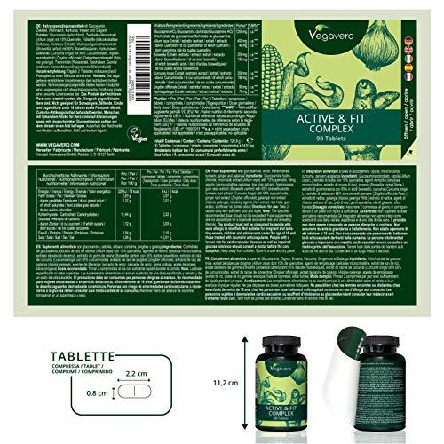 Active & Fit Complex Vegavero | 90 Tabletten | LABORGEPRÜFT | Glucosamin – Zwiebel – Boswellia – Curcumin Kurkuma – Ingwer – Galgant | Hochwertige Extrakte | Vegan und OHNE Zusatzstoffe