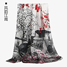 RENYZ.ZKHN Silk Scarves Silk Silk In Autumn And Winter All-Match Long Silk Scarf Shawl Dual-Use Sunscreen 51*172Cm,Charm Of The South Of The Yangtze River