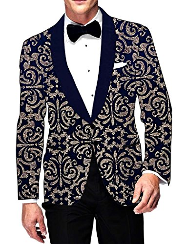 INMONARCH Mens Navy Blue Velvet Blazer mit zwei Tasten VB196S46 46 Short Navy blau (Navy Womens Blazer Blue)