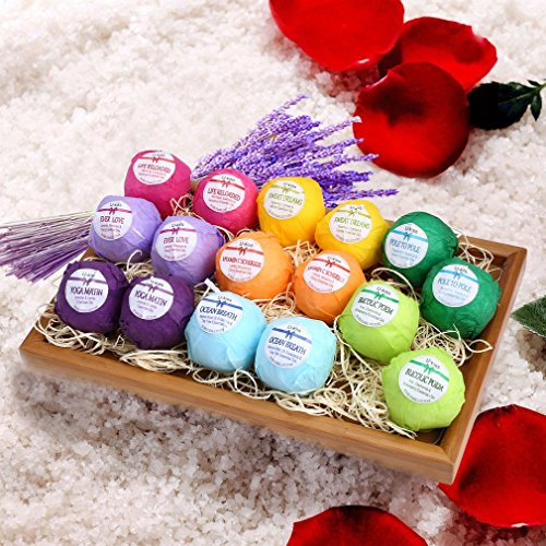 Bath Bombs, LESHP 16 x 60g Organic Essential Oil Handmade Bath Bomb Relieves fatigue & Moisturizes Dry Skin Premium Nature as A Gift for Baby, Mom, Girlfriend, You