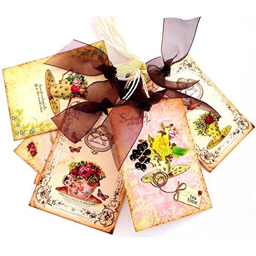 orations - EU Jahrgang Nachmittagsteezeit Geschenkanhänger - Brautbabyparty-Geburtstags-Frühlings-Blumen-Tags - Set 8 ()
