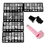 Beauty7 Nail Art Tampons Vernis Stamping 5 Plaque + 2 Kits Tampons Sceau Racloir Timbre Pochoir en Metal Image 105 Designs Mixtes Impression Pour Ongle Manucure...
