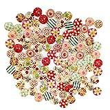zmigrapddn Holzknöpfe zum Basteln, 2 Löcher, 15 mm, Niedliche Blumen-Punkte, zum Nähen, Scrapbooking, Basteln, Zufällige Farbauswahl