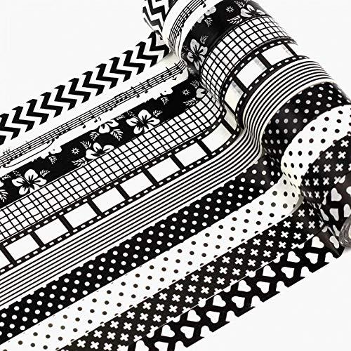 nd 10 stückeDecor Japanisches Washi Tape Black & White 1,5 cm x 10 mt Benutzerdefinierte Print Scrapbooking Masking Tape Papierklebeband großhandel ()