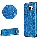 DasKAn Strass Glitzer Silikon Hülle für Samsung Galaxy S7,Glänzend Sterne Hybrid Ultra Dünn Weich Gummi Rückseite Handytasche Stoßfest Kratzfest Flexibel Gel TPU Schutzhülle,Hellblau#1