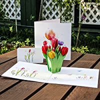Kofun Greeting Card With Envelope, 3D Tulips Flowers Pop Up Merry Christmas Greeting Card Birthday New Year Invitation Card Paper Cards Handmade Craft Valentines Christmas Invitation Card
