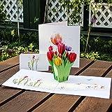 Kofun biglietto d' auguri con busta, 3D tulipani fiori pop up Merry Christmas biglietto di auguri di compleanno Capodanno Invitation Card Paper Cards Handmade Craft San Valentino Natale invito di