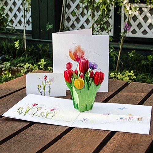 kofun-Grußkarte mit Umschlag, 3D Tulpen Blumen Pop Up Grußkarte Frohe Weihnachten Geburtstag New Year Einladung Papier Karten handgefertigt Craft Valentines Weihnachten Einladung Karte (Blume Grußkarte)