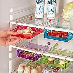 CucinaGood Multiusos Almacenamiento Frigorífico Sliding Drawer Nevera Organizador Space Saver Estante Azul