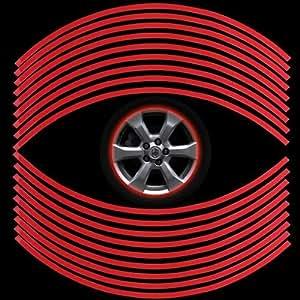 set 18 autocollant sticker jante roue rouge 6mm pour voiture. Black Bedroom Furniture Sets. Home Design Ideas