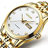 WATCHES-HAN Uhren für Männer Kalender Edelstahl Automatik Mechanische Uhr Mode Wasserdicht Echtes Leder Luminous LuxusCommerce Quarzuhren Geschenk-Gold Weiß