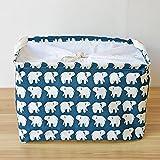 foccoe cesta de almacenamiento de lavandería cordón de algodón de lino plegable cesta de caja de almacenaje con para ropa/Libros de alta calidad guardería cestas (tamaño: 45* 30* 25cm)