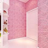 #9: Ocamo 3D Embossed Foam Soft Brick Waterproof Moisture-Proof Wall Sticker Self-adhesive Panel Decal Wall Pink