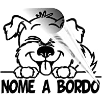 Adesivo per auto cane a bordo con nome dog on board