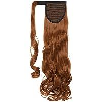 Extension Capelli Veri Coda di Cavallo Arrotolare Ponytail Parrucchino Ombre Hair Extensions 43cm Riccio - Auburn chiaro