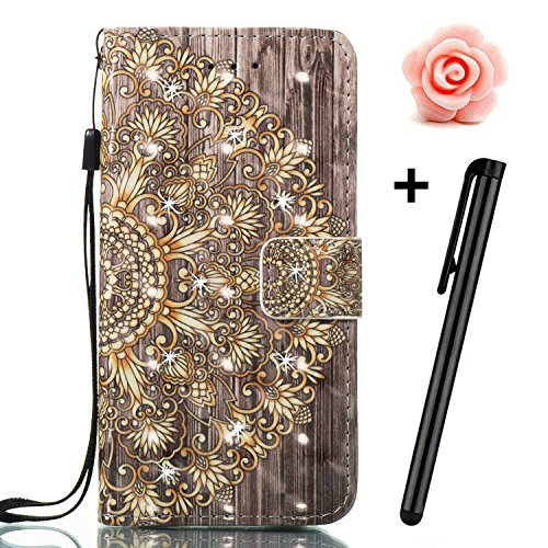 iPhone 6s Plus 5,5Zoll Glitzer Hülle,iPhone 6 Plus Leder Schutzhülle,TOYYM Bling Diamant Strass 3D Muster Design Folio PU Leder Wallet Full Body Protection Case mit Standfunktion Karteneinschub und Ma Retro Blume