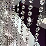 LnLyin Crystal Beads Chains,3.3Ft Acrylic Beads Garland Curtain Strands,Octagonal Beaded Chandelier Chain,Beads String Roll For DIY Wedding Christmas Ornaments Garland