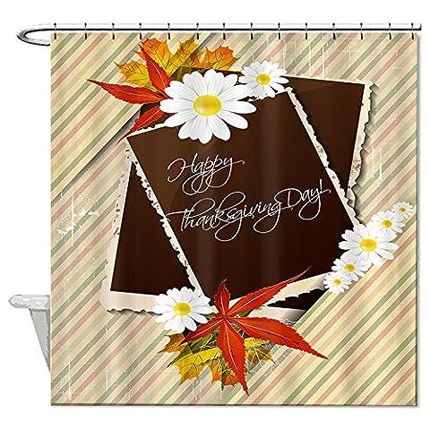 whiangfsoo Happy Thanksgiving Day und Blume Badezimmer Decor Polyester Stoff