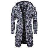 Hoodie Mantel Herren Sunday Männer Mens Slim Fit Kapuze Stricken Pullover Mode Cardigan Lange Trenchcoat Solide Jacke