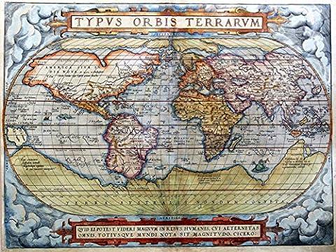 MAP ANTIQUE WORLD GLOBE CONTINENT OCEAN 30X40 CMS FINE ART PRINT. AFFICHE. IMPRIMER ART POSTER BB8221