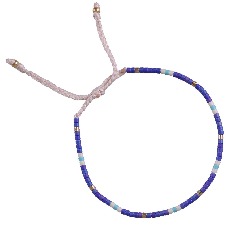 KELITCH Armband MischFarbe Rocailles Perlen Zart Schnur Freundschaftsarmbänder für Mädchen Damen - #10