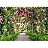 Veewon Just Married de mariage Banderole en carton Vintage mariage décoration