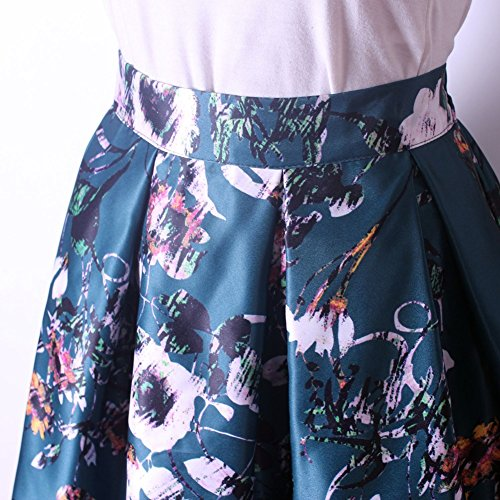 Mena UK Frauen 1950er Jahrgang bedruckte Knie-Länge Blumen-Swing Full Circle Retro gefaltete Röcke 8307