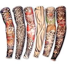Demarkt Juego de 6 novedosas Diseños de la novedad de la roca tatuaje falso Mangas de