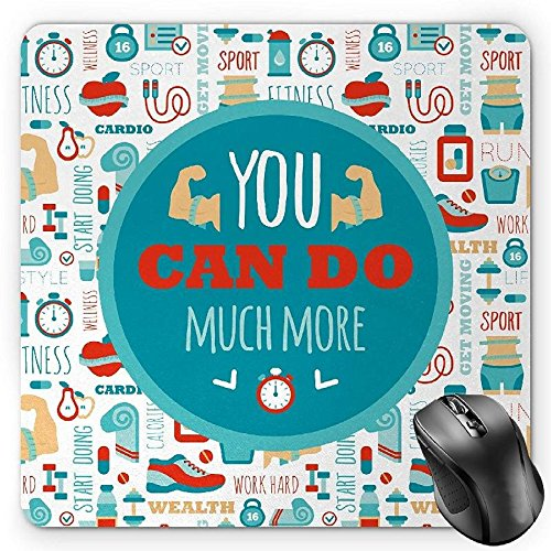 Preisvergleich Produktbild HYYCLS Fitness Mauspads,  You Can Do Much More Encouraging Phrase with Gym Icons Cardio Sport Wellness,  Standard Size Rectangle Non-Slip Rubber Mousepad,  Teal White Red