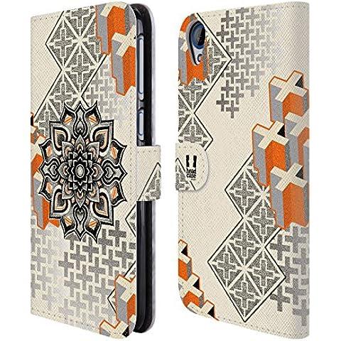 Head Case Designs Mandala E Croce Arte Puntiforme 2 Cover telefono a portafoglio in pelle per HTC Desire 820 - Croce Cucita Arte