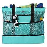 Sunnyushine Mesh Strandtasche, Mesh Beach Bag Tote Sand Spielzeug Aufbewahrungstasche | Faltbare Handtaschen Netztasche Picknicktaschen, Für Familie Urlaub 50.8 X 40.6 X 17.8 cm