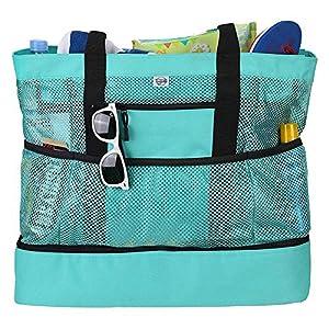 Große Strandtasche Mesh Badetasche Wasserdichte Picknicktasche Multifunktions Kühlfach Tasche mit Thermo Für Reise…