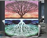 PLYY Bunter Baum-kreativer Digitaldruck-Duschvorhang, C