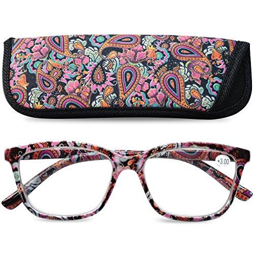 VEVESMUNDO Gafas de Lectura Mujer Hombre Grande Ojo de Gato Flores Leer Graduadas Vista Presbicia con Bolsillo 1.0 1.25 1.5 1.75 2.0 2.25 2.5 2.75 3.0 3.5 4.0 (2.75, Morado)