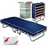 EvergreenWeb - Confortable lit d'appoint 80x190 avec Matelas Mousse H 10 cm avec oreillers en memoire Gratuit, sommier à Latt
