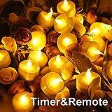topstone Flammenlose Teelichter mit Timer und Fernbedienung, Akku-betriebene LED-Teelichter, elektrische Fake Kerze mit hell und flackernd gelb Glühbirne, 12Stück, Best für Partys, Home Decor und Festivals Feiern