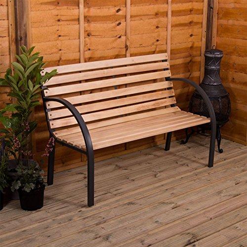 Gartenbank aus Holz mit Stahlrahmen 3 Sitzer Außenbereich Möbel Möbelstück Sitzmöglichkeit Holz Bretter Stahl Innenhof Terrasse Sitz von Garden Vida