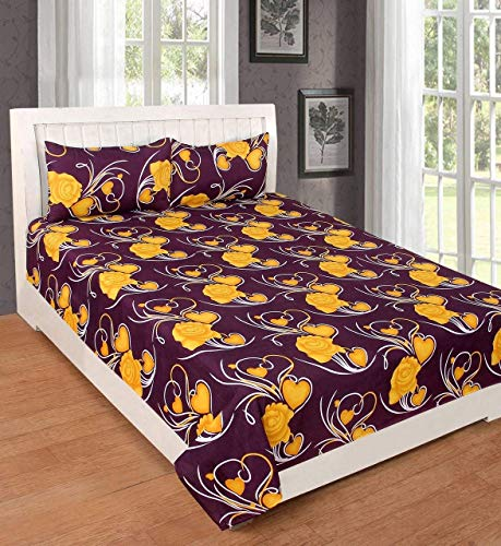 Fashion Hub Grace Cotton King Size Double Bedsheet, 1 Bedsheet And 2 Pillow Covers