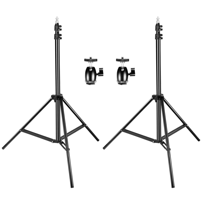 Neewer 2 Packs 190cm Support de Lumière Réglable avec 2 Vis 1/4 Mini Tête Rotule Adaptateur de Sabot pour HTC Vive VR, Vidéo, Portrait et Produit de Photographie