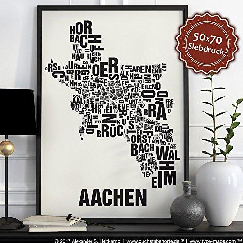 Aachen Buchstabenort Schwarz auf Naturweiß