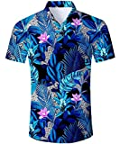 TUONROAD Herren Urlaub Shirt,Hawaii Hemd Blau,Freizeit Aloha Hawaii Hemd
