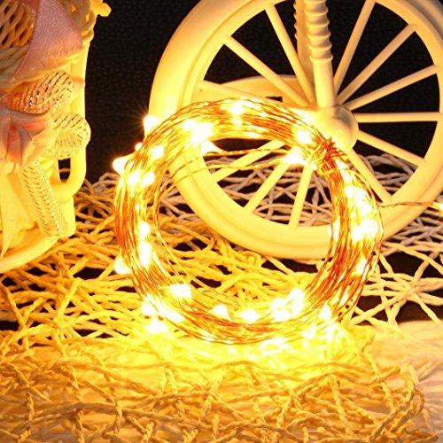 DOLDOA Kupferdraht Solarbetriebene Beleuchtung Lampen Outdoor Party Garten Dekor (100LED 12M/4.72″, gelb)