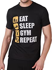men in class Printed Gym 5 Design Quote Black Stretchable Tee Dri-Fit Round Neck Slim Fit All Sport Training Or Causal Wear Dryfit T-Shirts for Men