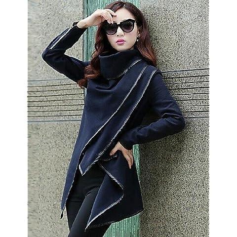 RONGFU ® Parka - Casual - Manica lunga - Medio spessore DI Tweed/Poliestere/PU , navy blue-2xl , navy blue-2xl